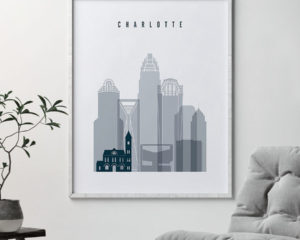 Charlotte skyline poster grey blue second