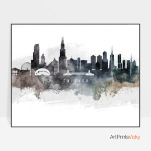 Chicago art poster watercolor