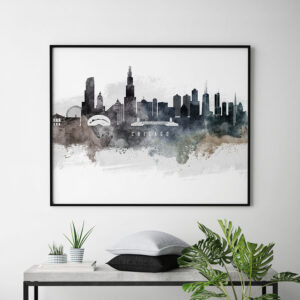 Chicago art poster watercolor second