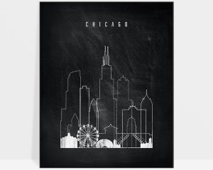 Chicago chalkboard black white skyline print