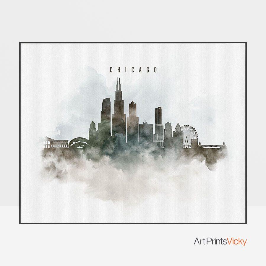 Chicago cityscape print watercolor