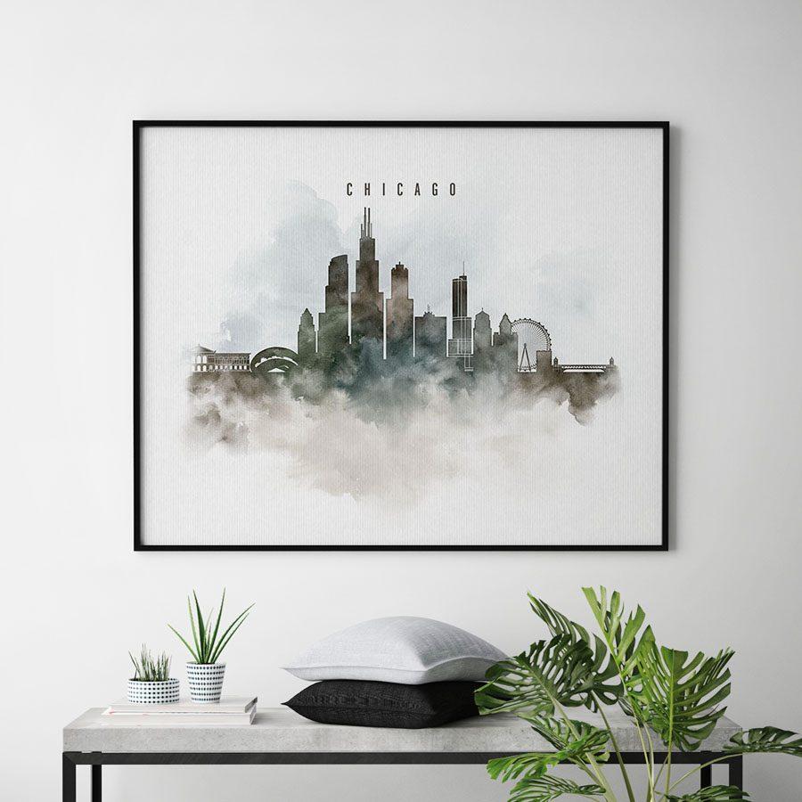 Chicago cityscape print watercolor second
