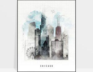 Chicago skyline art print urban