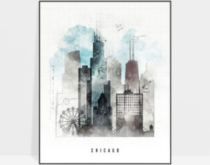 Chicago skyline art print urban