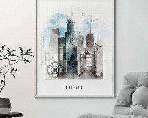 Chicago skyline art print urban second