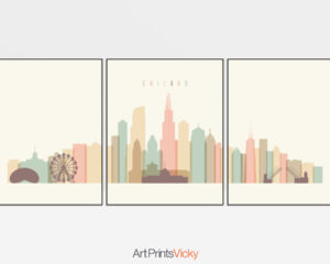 Chicago cream pastel skyline set of 3 prints