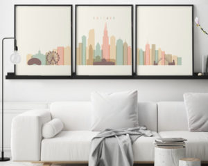Chicago cream pastel skyline set of 3 prints second