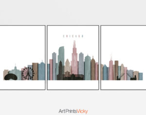 Chicago distressed 1 skyline set of 3 prints