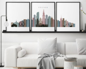 Chicago distressed 1 skyline set of 3 prints second