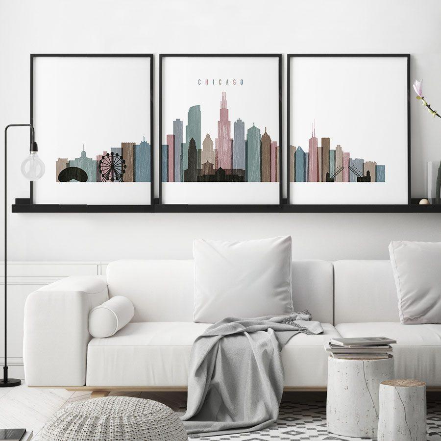 Chicago distressed 1 skyline set of 3 prints second