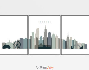 Chicago earth tones 4 skyline set of 3 prints