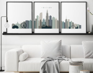 Chicago earth tones 4 skyline set of 3 prints second