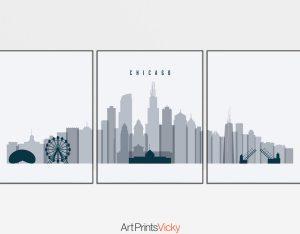 Chicago grey blue skyline set of 3 prints