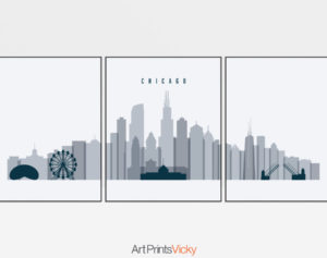 Chicago grey blue skyline set of 3 prints