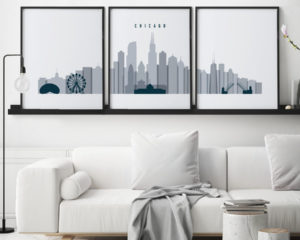 Chicago grey blue skyline set of 3 prints second