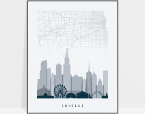Chicago map print poster grey blue