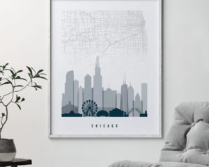 Chicago map print poster grey blue second