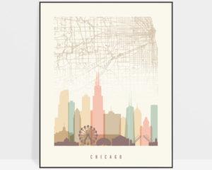 Chicago map print poster pastel cream