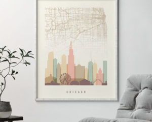 Chicago map print poster pastel cream second