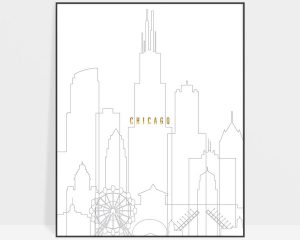 Chicago art skyline poster grey gold