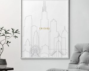 Chicago art skyline poster grey gold second