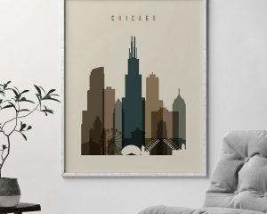 Chicago art print earth tones 3 second