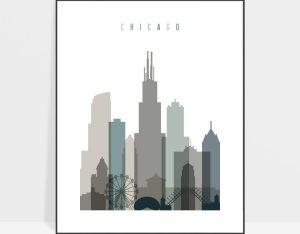 Chicago art print skyline earth tones 4