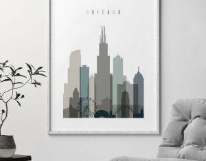 Chicago art print skyline earth tones 4 second