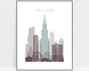 Chicago print skyline pastel 2