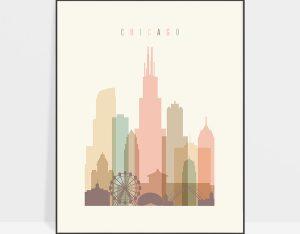 Chicago art print skyline pastel cream