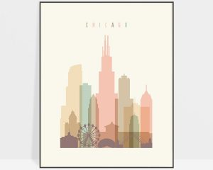 Chicago art print skyline pastel cream