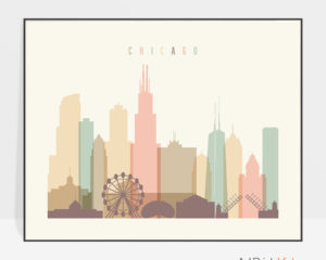 Chicago poster skyline pastel cream landscape