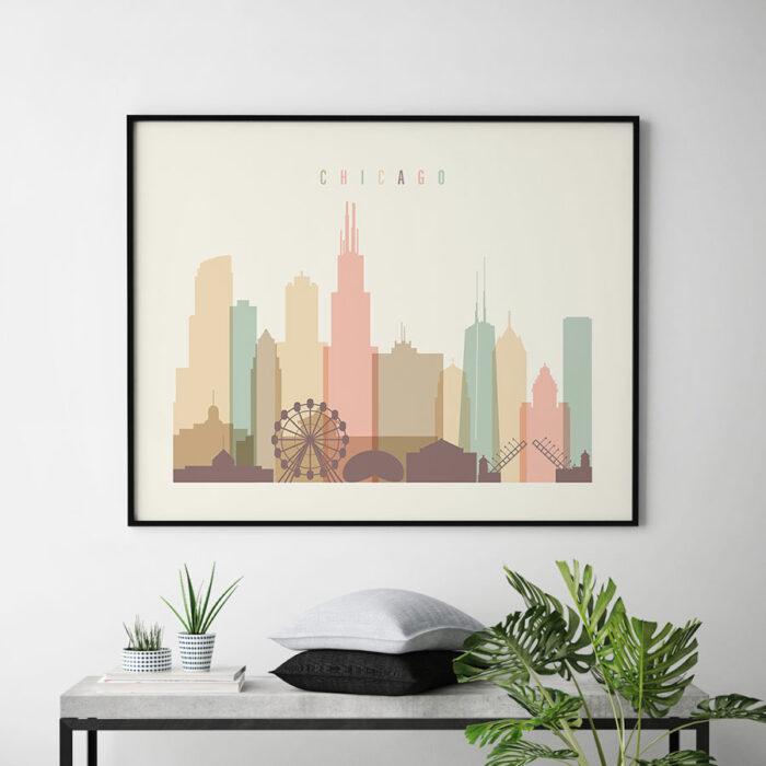 Chicago poster skyline pastel cream landscape