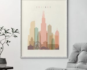 Chicago art print skyline pastel cream second