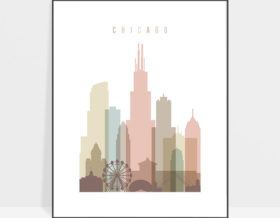 Chicago wall art pastel white