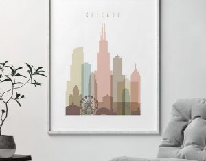 Chicago wall art pastel white seconc