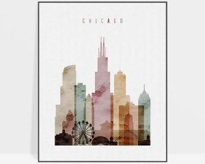 Chicago skyline art print watercolor 1