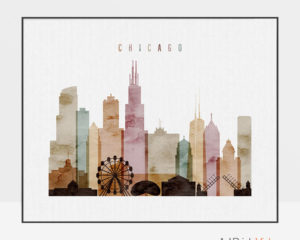 Chicago skyline print watercolor 1 landscape