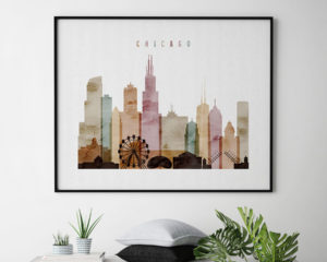 Chicago skyline print watercolor 1 landscape second