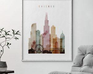 Chicago skyline art print watercolor 1 second