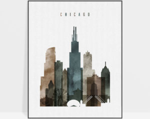 Chicago poster watercolor 2