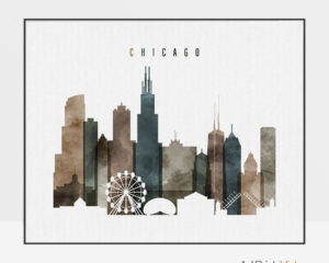 Chicago skyline art watercolor 2 landscape