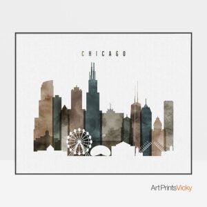Chicago skyline art watercolor 2 landscape