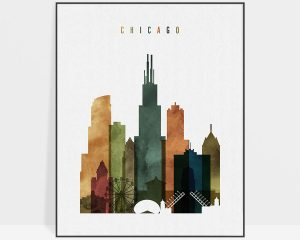 Chicago skyline print watercolor 3