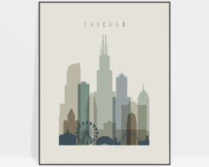 Chicago print skyline earth tones 1