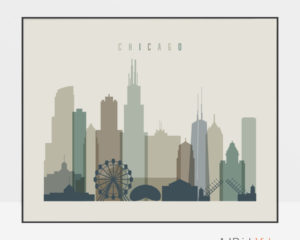 Chicago print earth tones 1 landscape