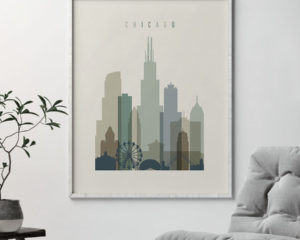 Chicago print skyline earth tones 1 second