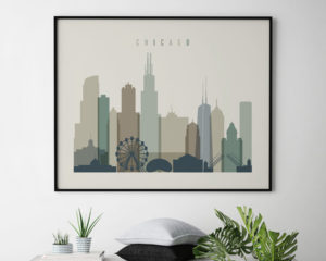 Chicago print earth tones 1 landscape second
