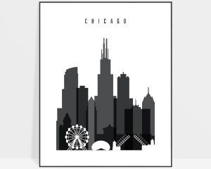 Chicago skyline black and white art