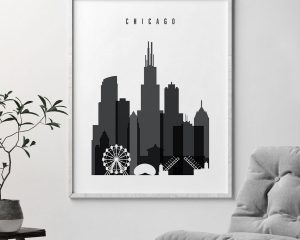 Chicago skyline black and white art second